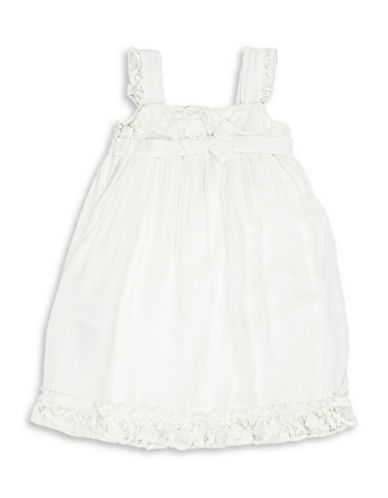 Guess Bow Accented Lace Dress-WHITE-6X