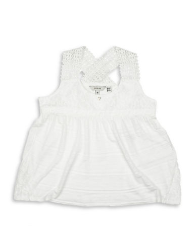 Guess Lace Short Sleeve Top-WHITE-16