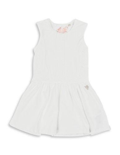 Guess Lace Paneled Dress-WHITE-6