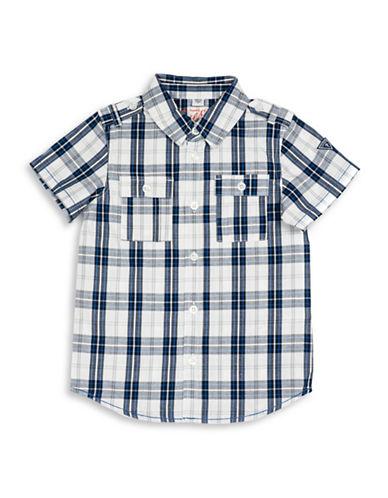 Guess Woven Checkered Shirt-BLUE-4