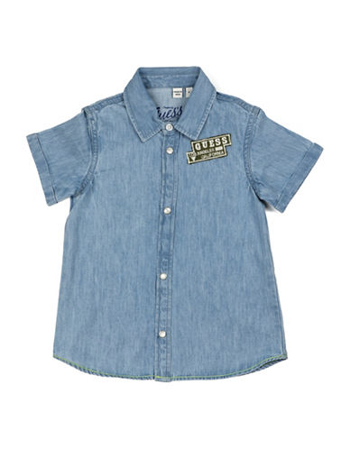 Guess Chambray Logo Patchwork Shirt-BLUE-2