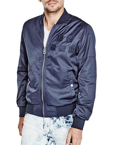 Guess Nathan Satin Bomber Jacket-NAVY-XX-Large 89009092_NAVY_XX-Large