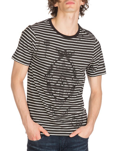 Guess Tattoo Striped Cotton Tee-BLACK-XX-Large
