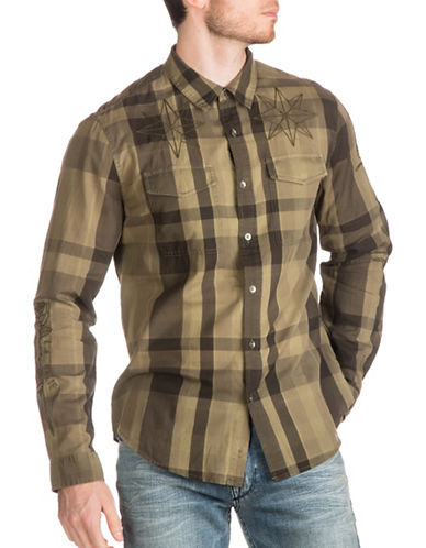 Guess Jake Voile Plaid Shirt-GREEN-XX-Large