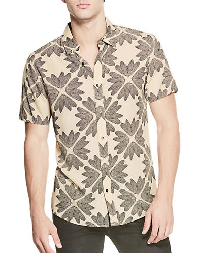 Guess Feather Print Shirt-NATURAL-Small