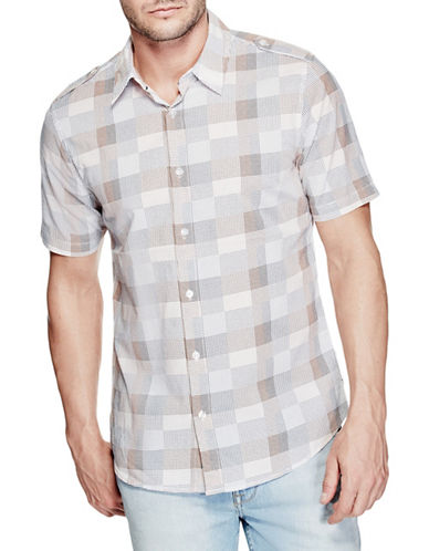 Guess Jake Printed Slim-Fit Shirt-ORANGE-Medium 89082837_ORANGE_Medium
