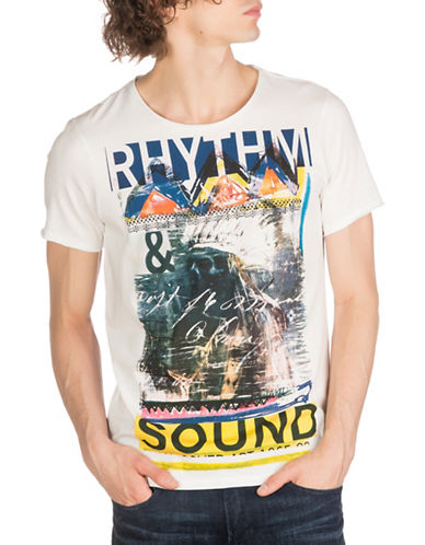 Guess Rhythm Sound Crew Neck Tee-WHITE-X-Large 89110008_WHITE_X-Large