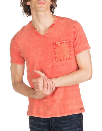 Guess Leland Stripe Slit Tee-RED-Small