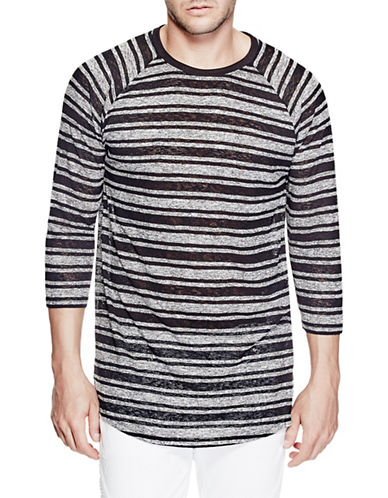 Guess Striped Longline Tee-BLACK-Medium 89082862_BLACK_Medium