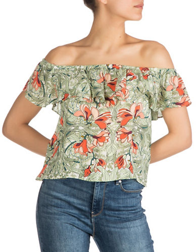 Guess Ari Off-the-Shoulder Top-GREEN-Large