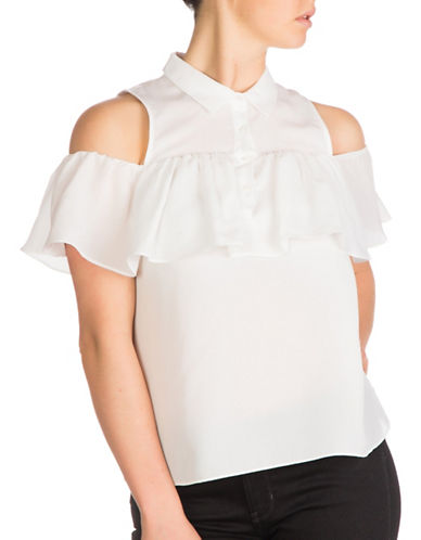 Guess Chelsea Off-the-Shoulder Top-WHITE-X-Small 89017936_WHITE_X-Small