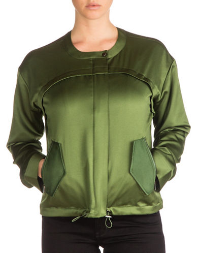 Guess Addy Satin Jacket-GREEN-Medium