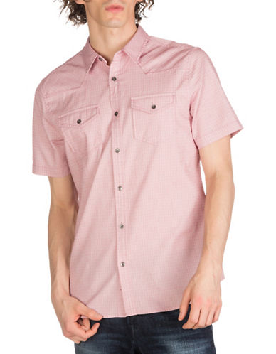 Guess Melange Checked Shirt-RED-Small