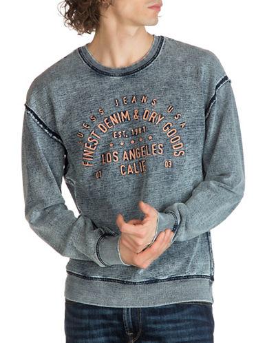 Guess Originals Heathered Knit Denim Sweatshirt-BLUE-XX-Large
