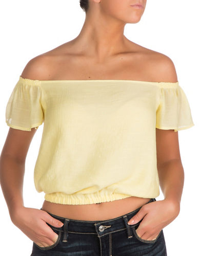 Guess Nikki Off-the-Shoulder Top-YELLOW-X-Large
