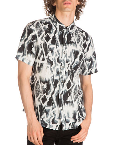 Guess Chalk Graffiti Print Linen-Cotton Sport Shirt-BLACK-XX-Large