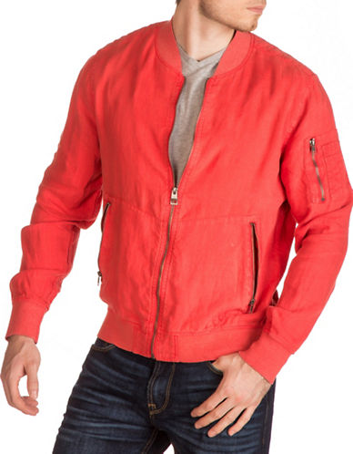 Guess Fade Linen Bomber-ORANGE-Large