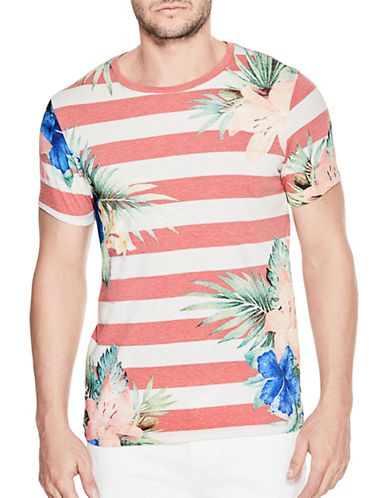 Guess Striped Palm Crew Tee-RED-XX-Large