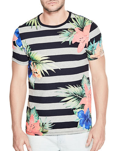 Guess Striped Palm Crew Tee-GREY-Large