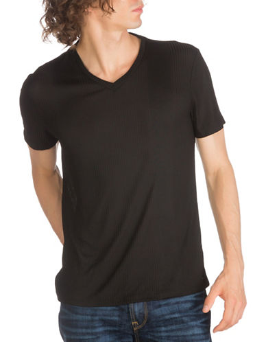Guess Limit Striped V-Neck Tee-BLACK-Medium