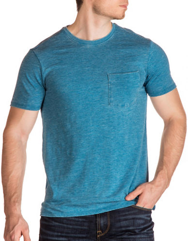Guess Myer Slub Burnout T-Shirt-BLUE-Large