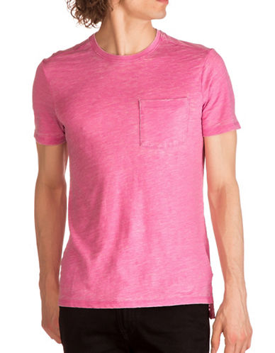Guess Myer Slub Burnout T-Shirt-PINK-X-Large