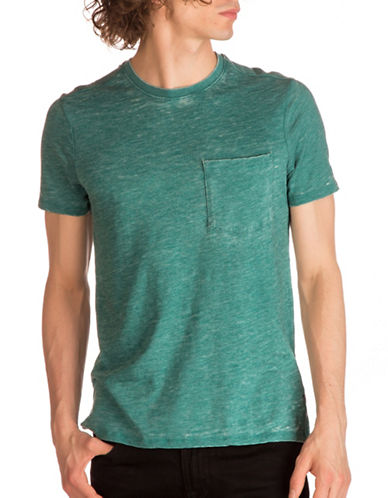 Guess Myer Slub Burnout T-Shirt-GREEN-X-Large