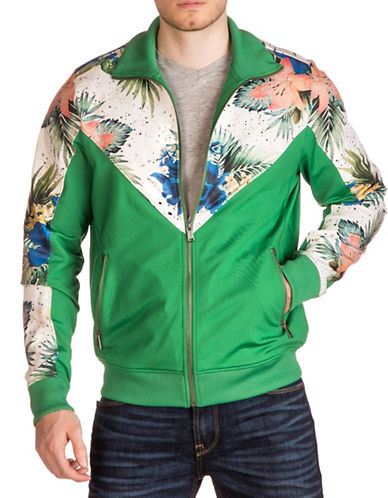 Guess Keith Floral Palm Track Jacket-GREEN-Medium