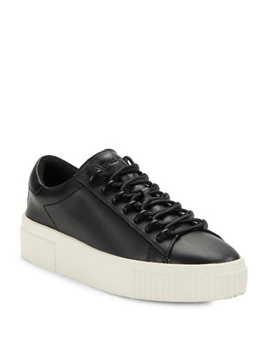 Kendall + Kylie Reese Leather Lace-Up Platform Sneakers-BLACK-7.5