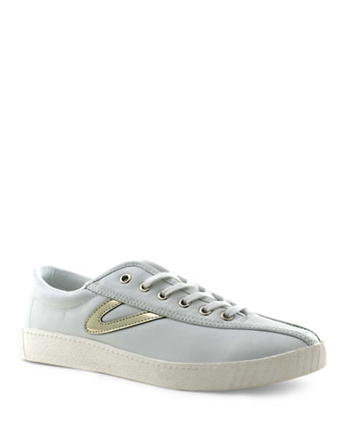 Tretorn Womens Nylite 2 Plus Leather Sneakers-WHITE/GOLD-5