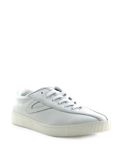 Tretorn Womens Nylite 2 Plus Leather Sneakers-WHITE-7.5