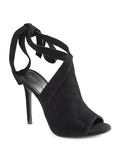 Kendall + Kylie Evelyn Leather Wrap Heels-BLACK-10
