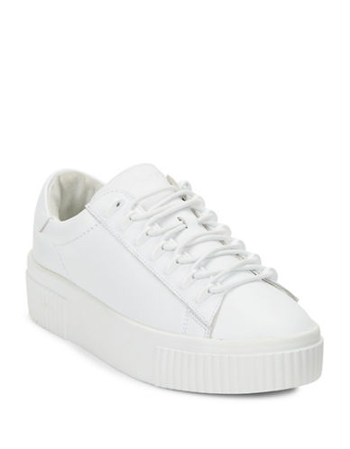 Kendall + Kylie Reese Leather Lace-Up Platform Sneakers-WHITE-9.5