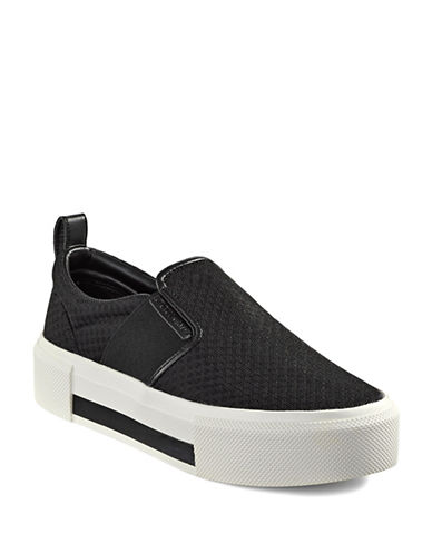 Kendall + Kylie Tenle Mesh Slip-On Sneakers-BLACK-7.5