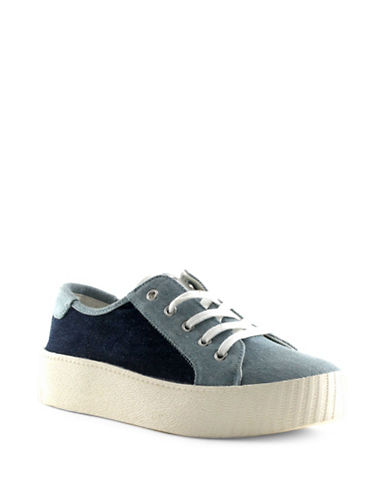 Tretorn Womens Blaire Denim Chunky Sneakers-BLUE-8.5