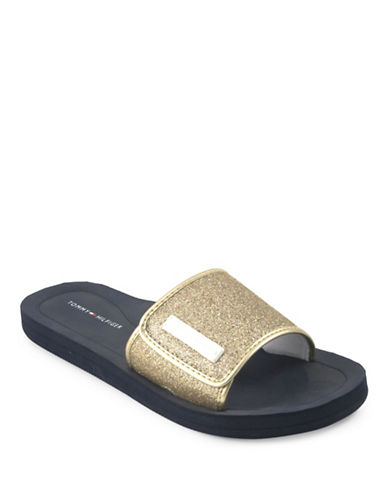Tommy Hilfiger Mysha3 Glitter Slide Sandals-HAVANA-9