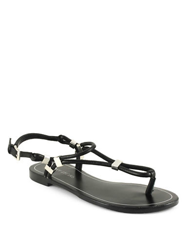 Ivanka Trump Ashanti Leather Strappy Sandals-BLACK-5