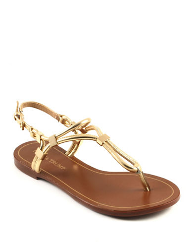 Ivanka Trump Ashanti Leather Strappy Sandals-GOLD-6
