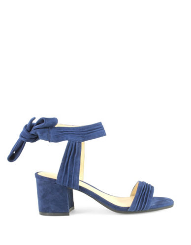 Ivanka Trump Edline Suede Pleated Sandals-BLUE-7
