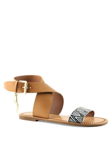 Indigo Rd Devin Leather Flat Sandals-BEIGE-6.5