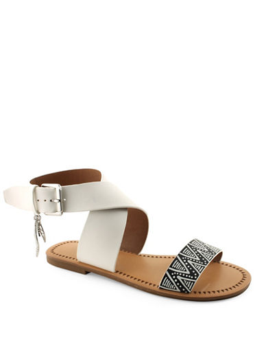 Indigo Rd Devin Leather Flat Sandals-WHITE/BLACK-6.5
