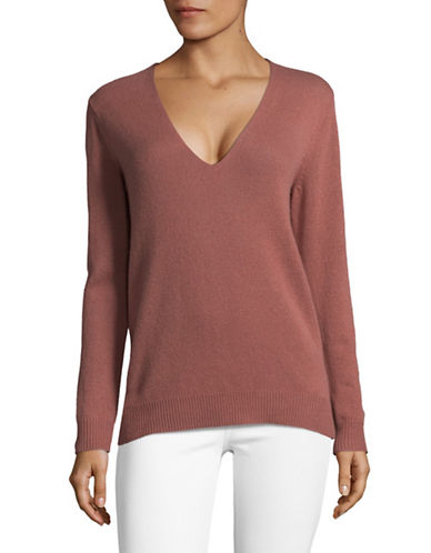 Theory Long Sleeve Cashmere Sweater-DEEP ROSE-Large