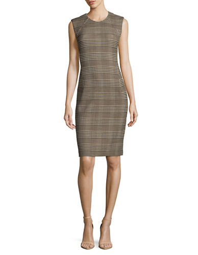 Theory Stretch Plaid Sheath Dress-BEIGE MULTI-12