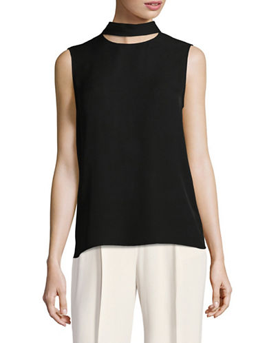 Theory Silk Slit Collar Top-BLACK-X-Small