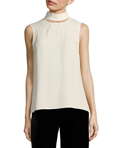 Theory Silk Slit Collar Top-IVORY-Medium