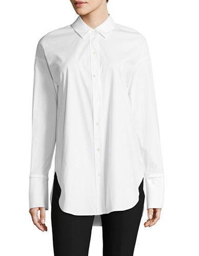 Theory Bell Cuff Cotton Shirt-WHITE-X-Small