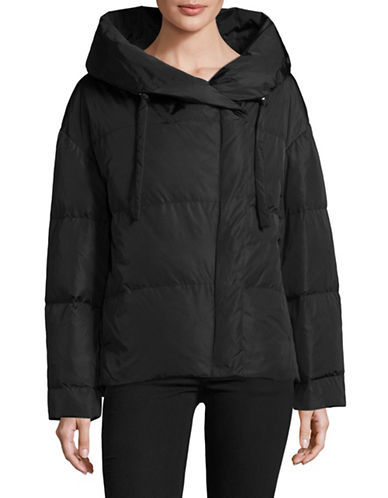 Theory Off-Shoulder Down Puffer Jacket-BLACK-Small