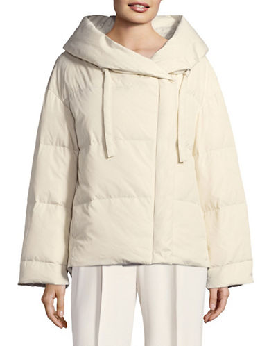 Theory Off-Shoulder Down Puffer Jacket-BEIGE-Medium