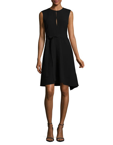Theory Desza Belted A-Line Dress-BLACK-0