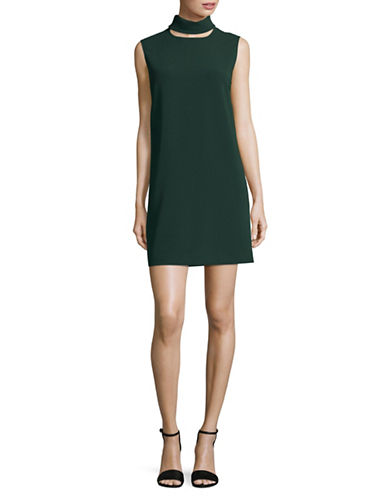 Theory Choker Neck Shift Dress-GREEN-00